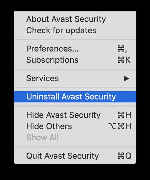 Uninstall Avast