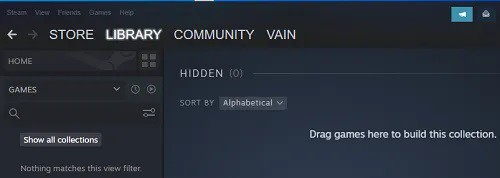 View Hidden Games on Steam