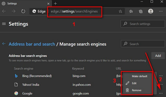 Default Search Engine in Microsoft Edge