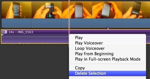delete audio from video imovie mac