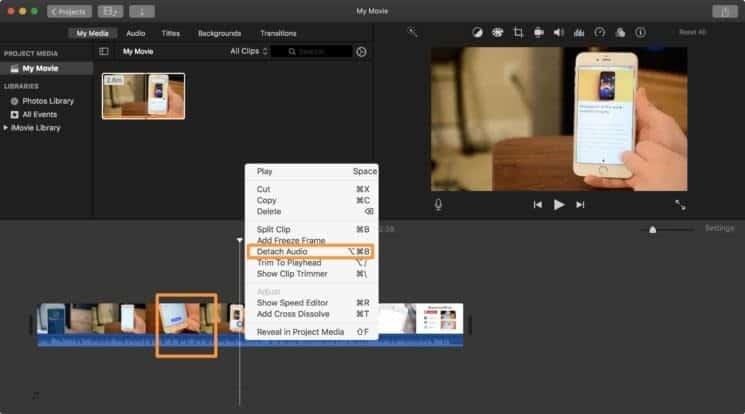 split audio in imovie mac